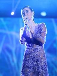 张柏芝穿透视薄纱裙献唱 大秀性感好身材
